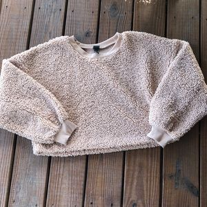On Trend Wild Fable Teddy Bear Nubby Cropped Sweater-L